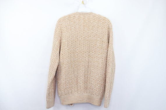 50s Hand Knit Cable Cowichan Cardigan Sweater Bei… - image 5