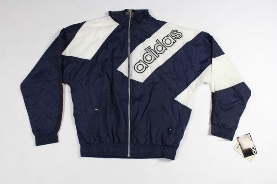 80er Jahre neue Adidas Full Zip Spell Out Trefoil Run DMC Track Jacke weiß Herren klein, Vintage Adidas Spell Out Jacke, Vintage Run DMC Jacke