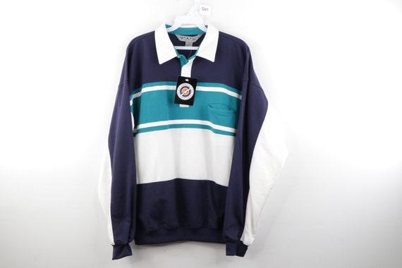 90s Streetwear Collared Color Block Polo Sweatshir