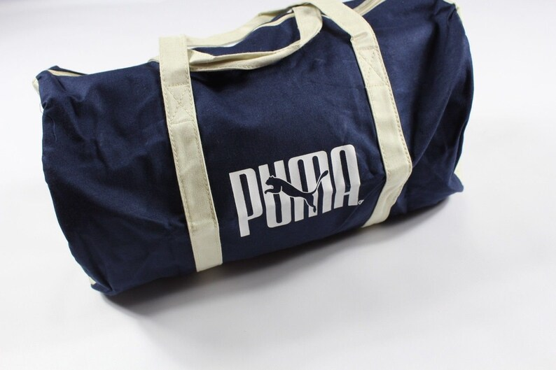 0931041dc458 80s Puma Spell Out Canvas Weekender Duffel Bag Travel Bag Navy