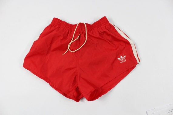 Vintage 80s New Adidas Mens Small Spell Out Trefoil Striped Soccer Shorts Blue