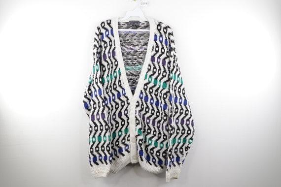 90s Streetwear Abstract Geometric Button Cardigan