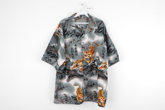 90s Streetwear Anime Tiger All Over Print Button F