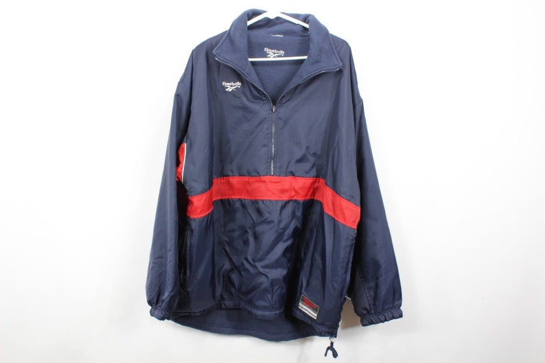 4390c395c0d25 90s Reebok Spell Out Reversible Pullover Anorak Jacket Mens 2XL XXL Navy  Blue, Vintage Reebok Jacket, Fleece Jacket, Vintage Coat, Mens Coat