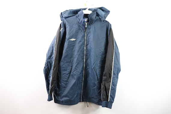 90s Umbro Spell Out Full Zip Hooded Soccer Jacket
