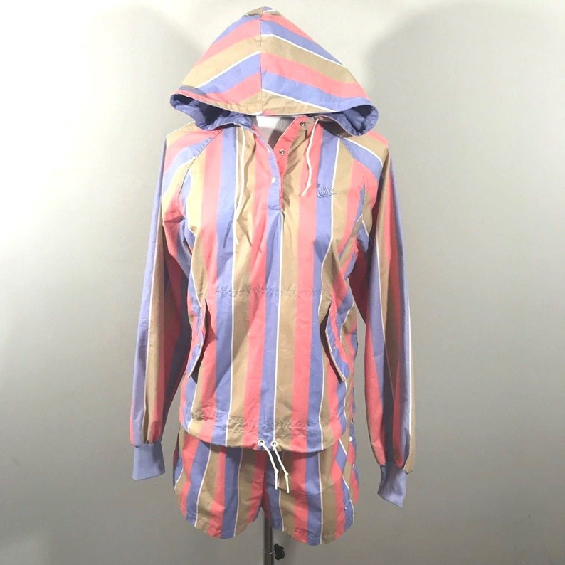 0d9b2fd57876 80s Nike Blue Tag 2 Piece Womens Striped Hooded Jacket and