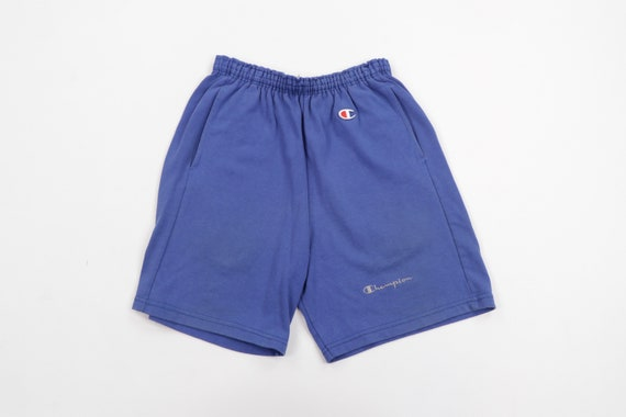 80s Champion Stitched Spell Out Faded Shorts Royal