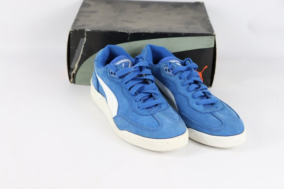 80s New Puma Liga Indoor Soccer Shoes Flat Blue Wh