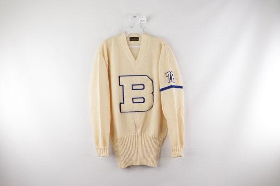 70s Virgin Wool High School Varsity Sweater B Patc