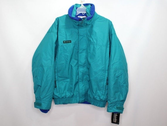 90s New Columbia Bugaboo 2 In 1 Spell Out Full Zip Winter Snow Parka Jacket Teal Mens, Vintage Columbia Ski Parka Jacket, 90s Columbia