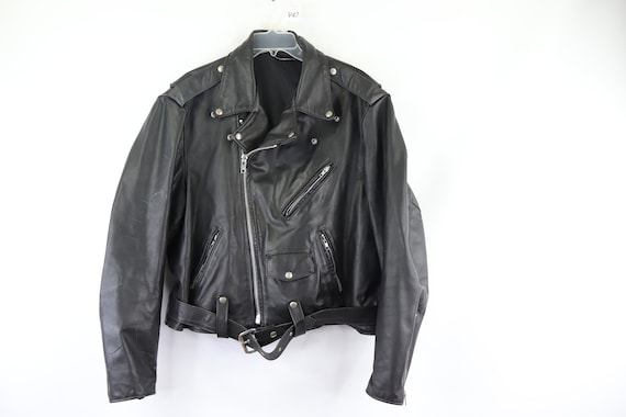 80s Belted Distressed Leather Motorcycle Jacket Bl