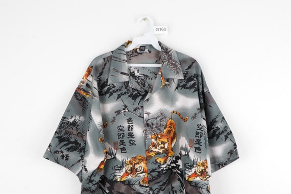 90s Streetwear Anime Tiger All Over Print Button … - image 2