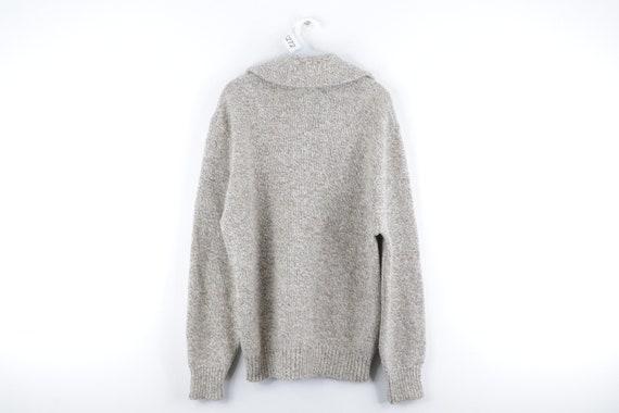 80s LL Bean Wool Full Zip Sweater Jacket Heather … - image 5