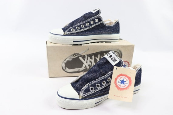 90s New Converse Chuck Taylor All Star Low Inside Out Denim Sneakers Shoes Mens Size 5 Womens 7 Navy Blue Ash, Converse Made in USA