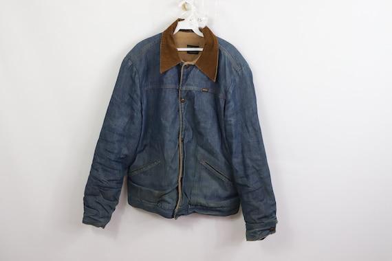 60s Corduroy Collar Fleece Lined Distressed Denim