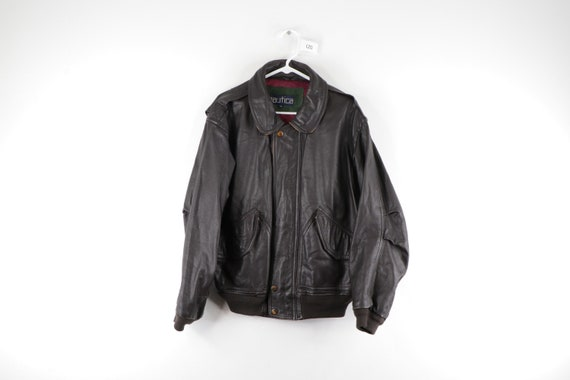 90s Nautica Distressed Leather Flight Bomber Jacke