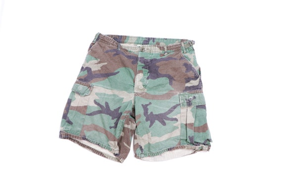 90s Distressed Faded Military Camouflage Cargo Sho
