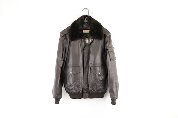 80s Wilsons Leather Full Zip Faux Shearling Collar