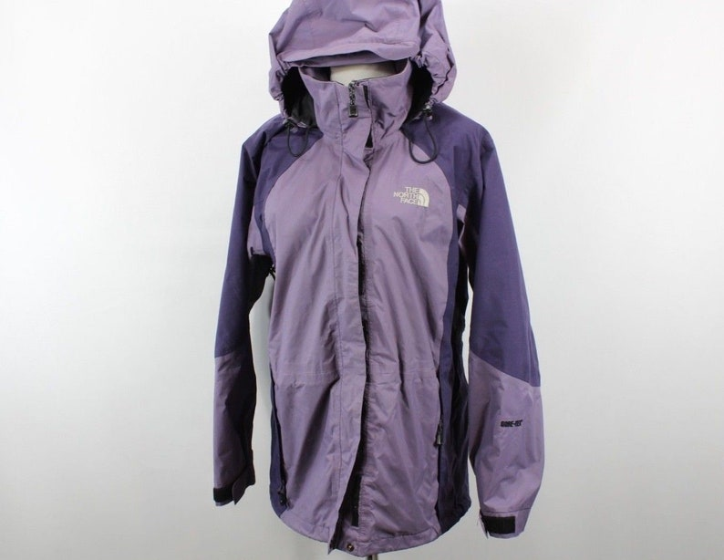 5a2024489 90s The North Face Goretex Full Zip Hooded Outdoor Hiking Rain Jacket Coat  Purple Womens Small, Vintage The North Face Jacket, Womens Coat