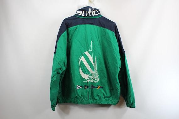 90s Nautica  Spell Out Boat Logo Full Zip Hooded J