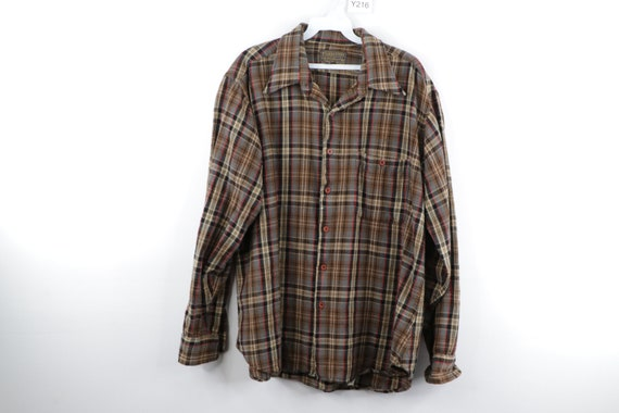 80s Pendleton The Lodge Wool Plaid Flannel Button