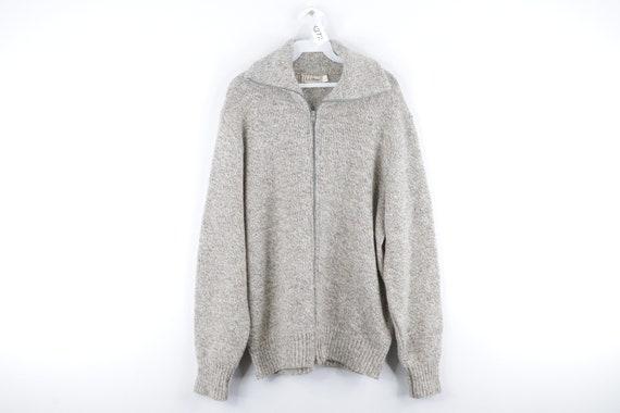 80s LL Bean Wool Full Zip Sweater Jacket Heather … - image 1