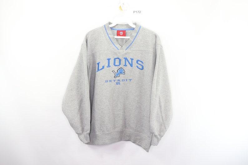 846ff496 90s Detroit Lions NFL Football Spell Out V-Neck Sweatshirt Gray Mens  Medium, Vintage Detroit Lions Sweatshirt, 1990s Football V-Neck Sweater