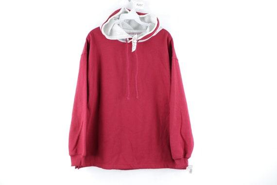 90s Streetwear Blank Fleece Hoodie Sweatshirt Burg