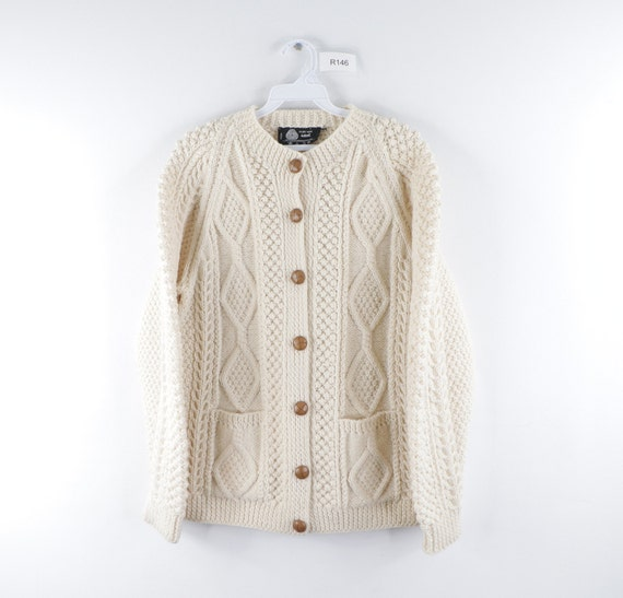 70s Pure New Wool Hand Knit Long Sleeve Cardigan S