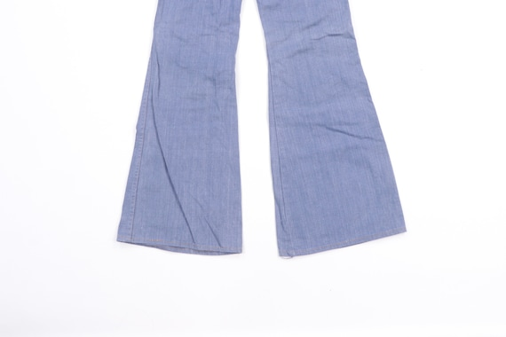 70s High Rise Flared Bell Bottom Denim Jeans Blue… - image 9