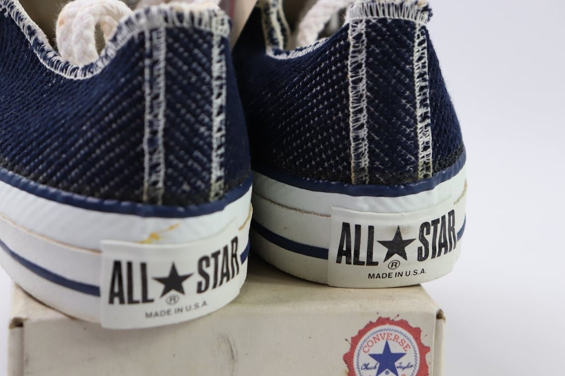 90s New Converse Chuck Taylor All Star Low Inside Out Denim Sneakers Shoes Mens Size 5.5 Womens 7.5 Navy Blue Ash, Converse Made in USA