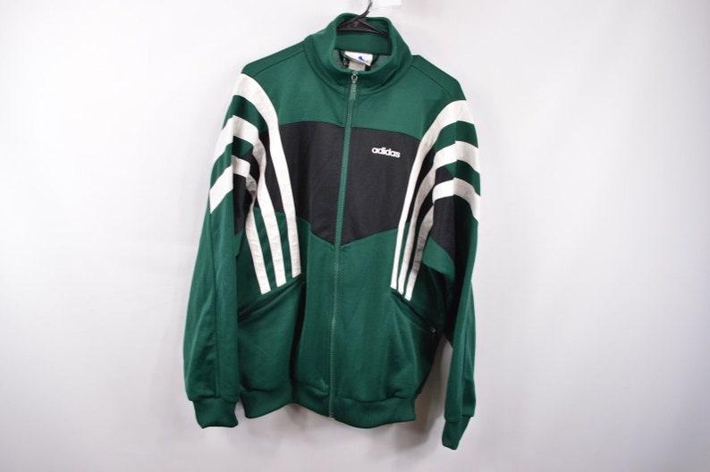 845afaf59aff 90s Adidas Spell Out Full Zip Run DMC Soccer Football Jacket Mens Large  Green