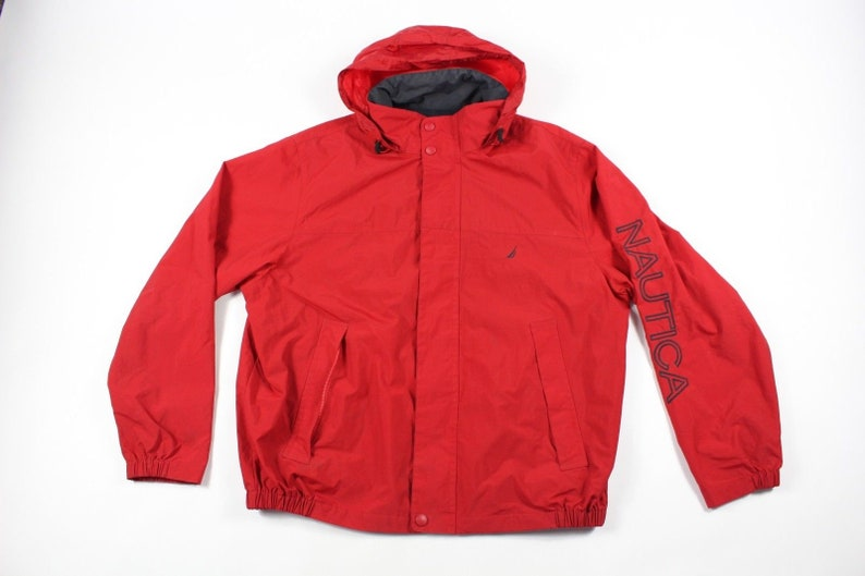 cd8fedeb28984 90s Nautica Spell Out Full Zip Hooded Outdoor Jacket Mens XL Red, Vintage  Nautica Jacket, Nautica Spell Out Jacket, 90s Vintage Jacket