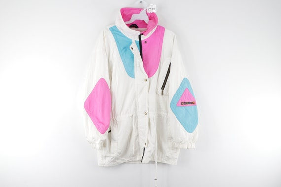 80s Spell Out Neon Nylon Skiing Parka Windbreaker