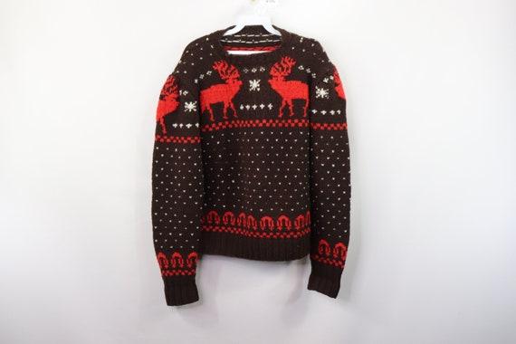 50s Wool Hand Knit Reindeer Print Cowichan Crewnec