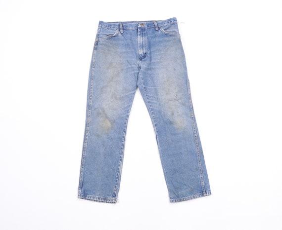 70s Rustler Distressed Straight Leg Denim Jeans Bl