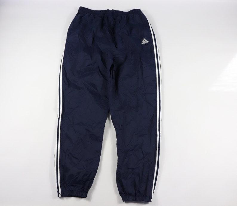 90s Adidas Spell Out Striped Nylon Joggers Jogger Pants Navy Blue Mens XL, Vintage Adidas Joggers, Vintage Pants, Adidas Sweatpants Gre
