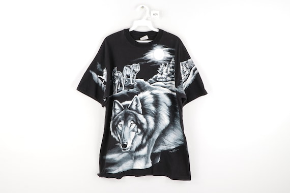 90s Streetwear Nature All Over Wolf Print Double S