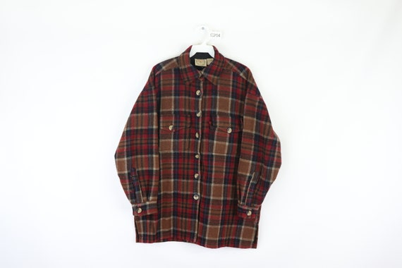 80s Rockabilly Double Pocket Wool Plaid Full Butto