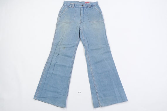 70s Distressed Faded Flared Leg Bell Bottoms Denim