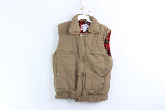 80s Flannel Lined Multi-Pocket Puffer Vest Jacket