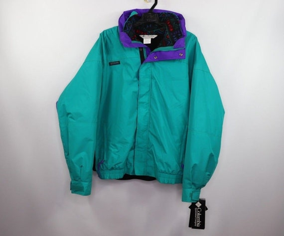 90s New Columbia Bugaboo 2 In 1 Spell Out Full Zip Winter Skiing Parka Chaqueta Teal Mens, Vintage Columbia Ski Parka Chaqueta, 90s Columbia