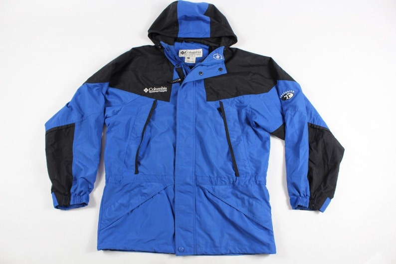 422363eaa89a9 90s Columbia Tectonite Spell Out Full Zip Hooded Outdoor Hiking Jacket Mens  Small Blue, Vintage Columbia Jacket, 90s Columbia Mens Jacket