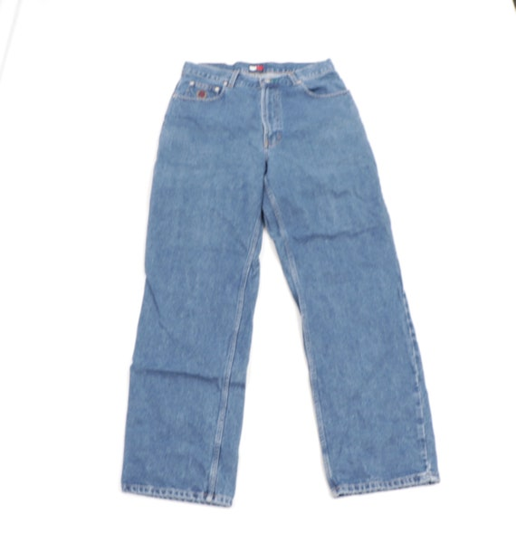 90s Tommy Hilfiger Spell Out Patch Wide Leg Denim