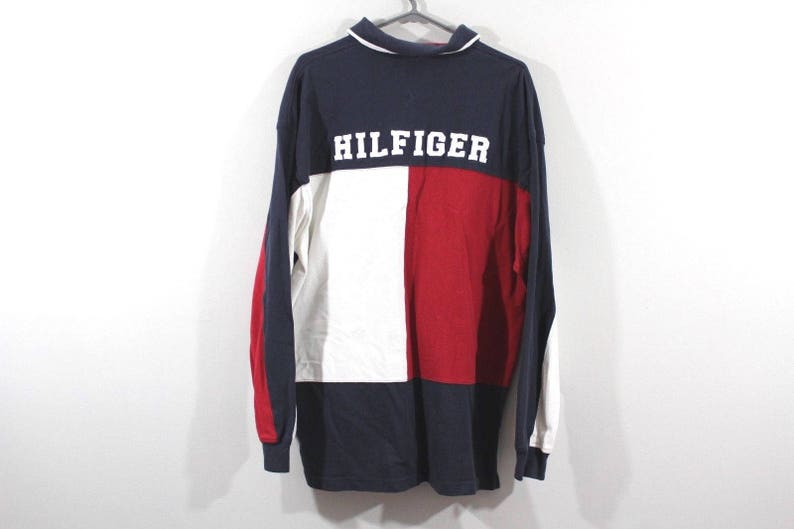 e8c46127 90s Tommy Hilfiger Spell Out Big Flag Logo Long Sleeve Polo | Etsy