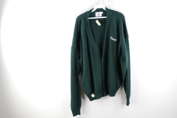 NOS 80s Michigan State Spartans Knit Cardigan Swea