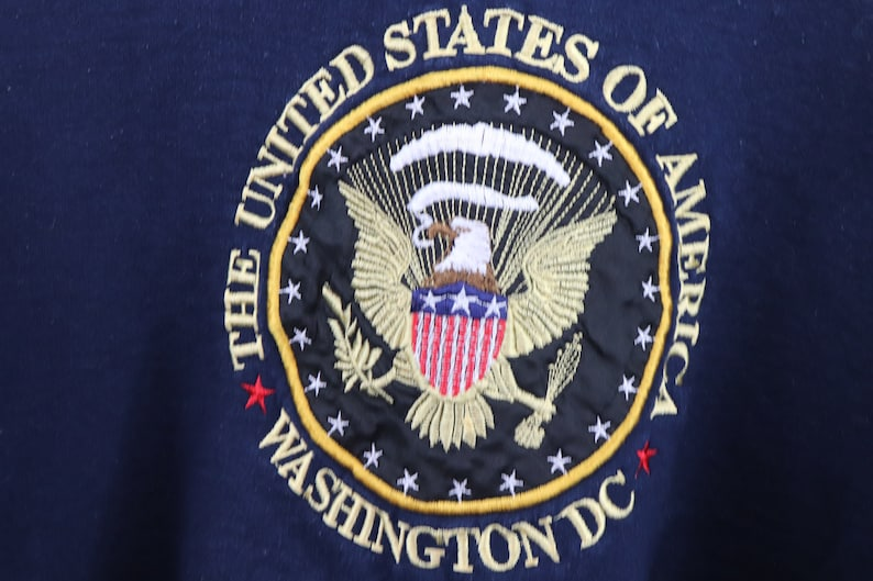 Vintage USA Spell Out Sweatshirt 90s United States of America Crest Spell Out Crewneck Sweatshirt Navy Blue Mens Small Vintage Mens 1990s