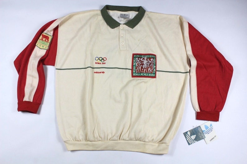 fd21d8401833 80s New Adidas 1960 Roma Olympics Series Spell Out Pullover