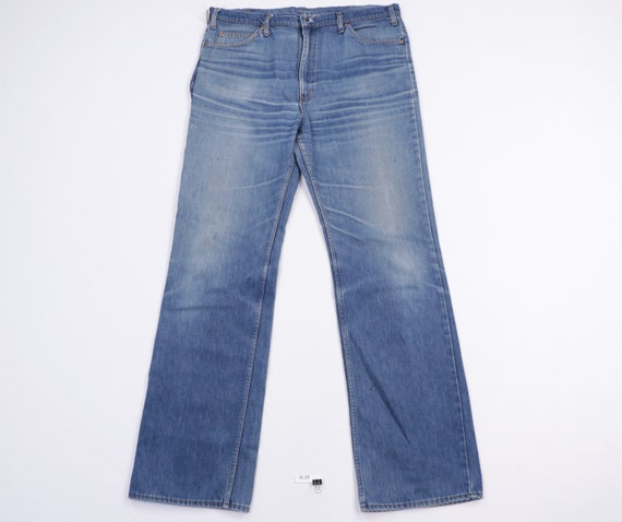70s Distressed Faded Wide Flared Bell Bottom Denim