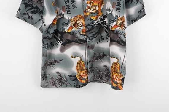 90s Streetwear Anime Tiger All Over Print Button … - image 3